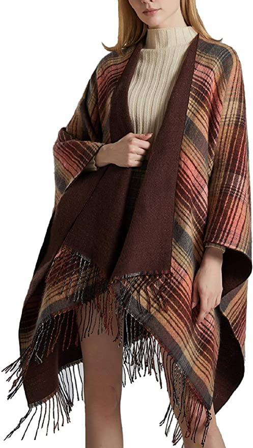 Ladies Cashmere Cape Poncho Pashmina New Wrap Shawl Scarf Serape Blanket Jumper