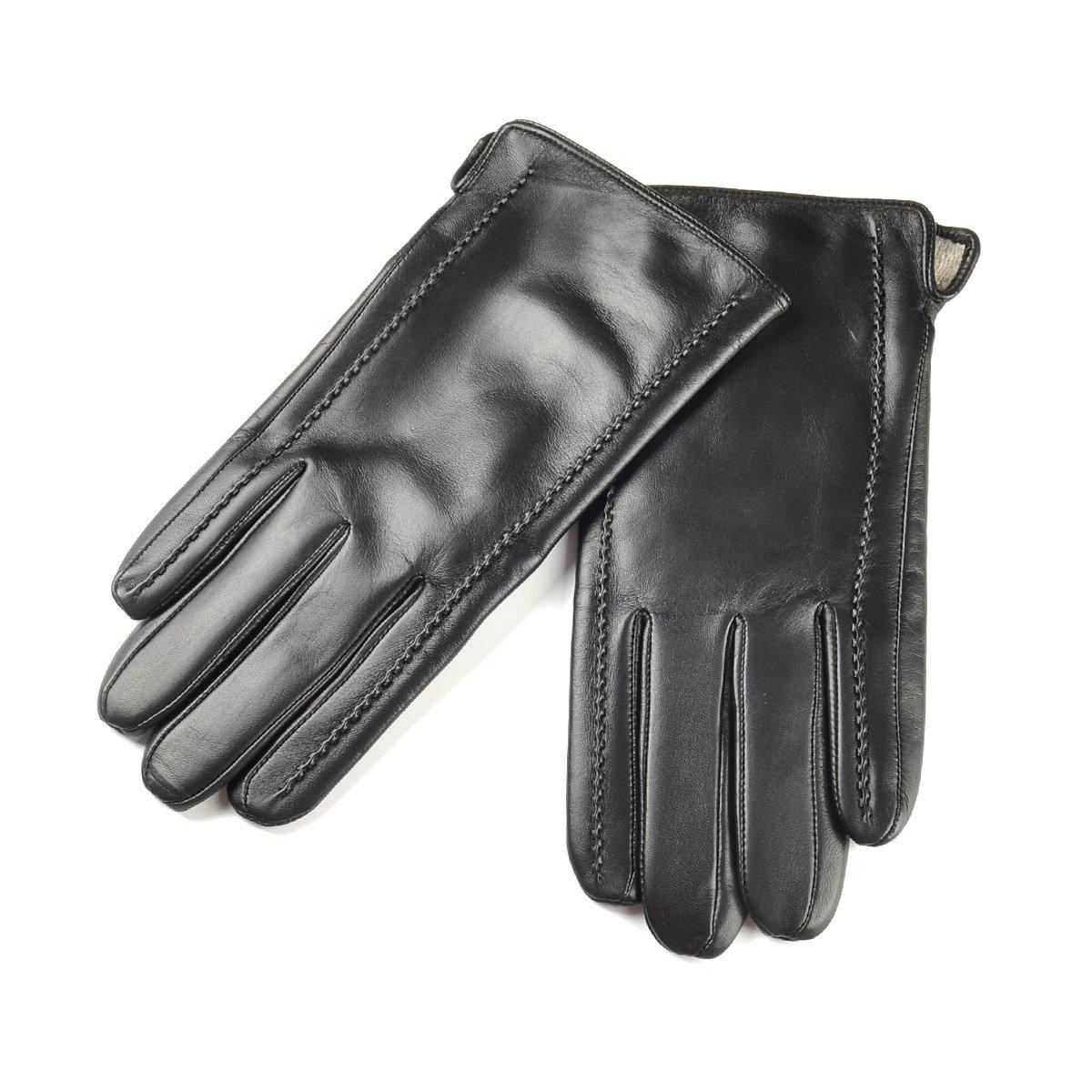 SIEFERSN Simple Design Men's Lambskin Full Touchscreen Gloves Winter Warm Leather Gloves 1154225012 (Large 9'', Black (Full Touchscreen/Soft flannel Lining))