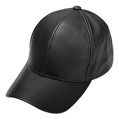 f7e3be0264de78 mioim® New Men Women Faux Leather Baseball Cap Unisex Snapback Outdoor  Sport Adjustable Hat: Amazon.co.uk: Clothing