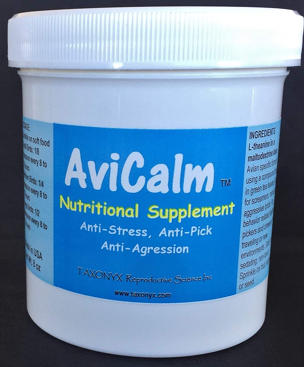 Taxonyx Science Inc AviCalm Calming Supplement for Birds - Compare to Avitech!