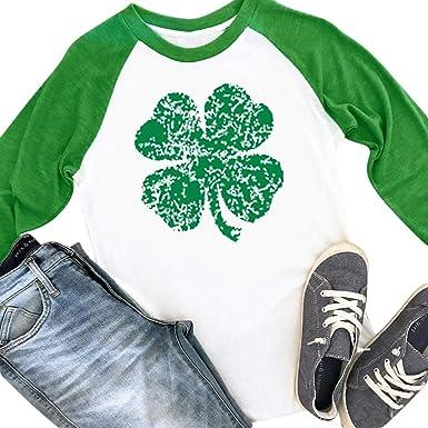 78745e56f25 Spadehill St Patricks Day Womens Irish Raglan Baseball T Shirt Clover Green  Long Sleeve Top S