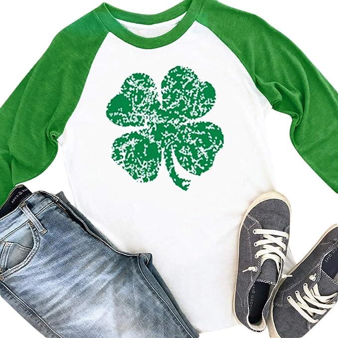 7ade3fabf75cc Spadehill St. Patrick's Day Womens Long Sleeve Green Clover Raglan Shirt
