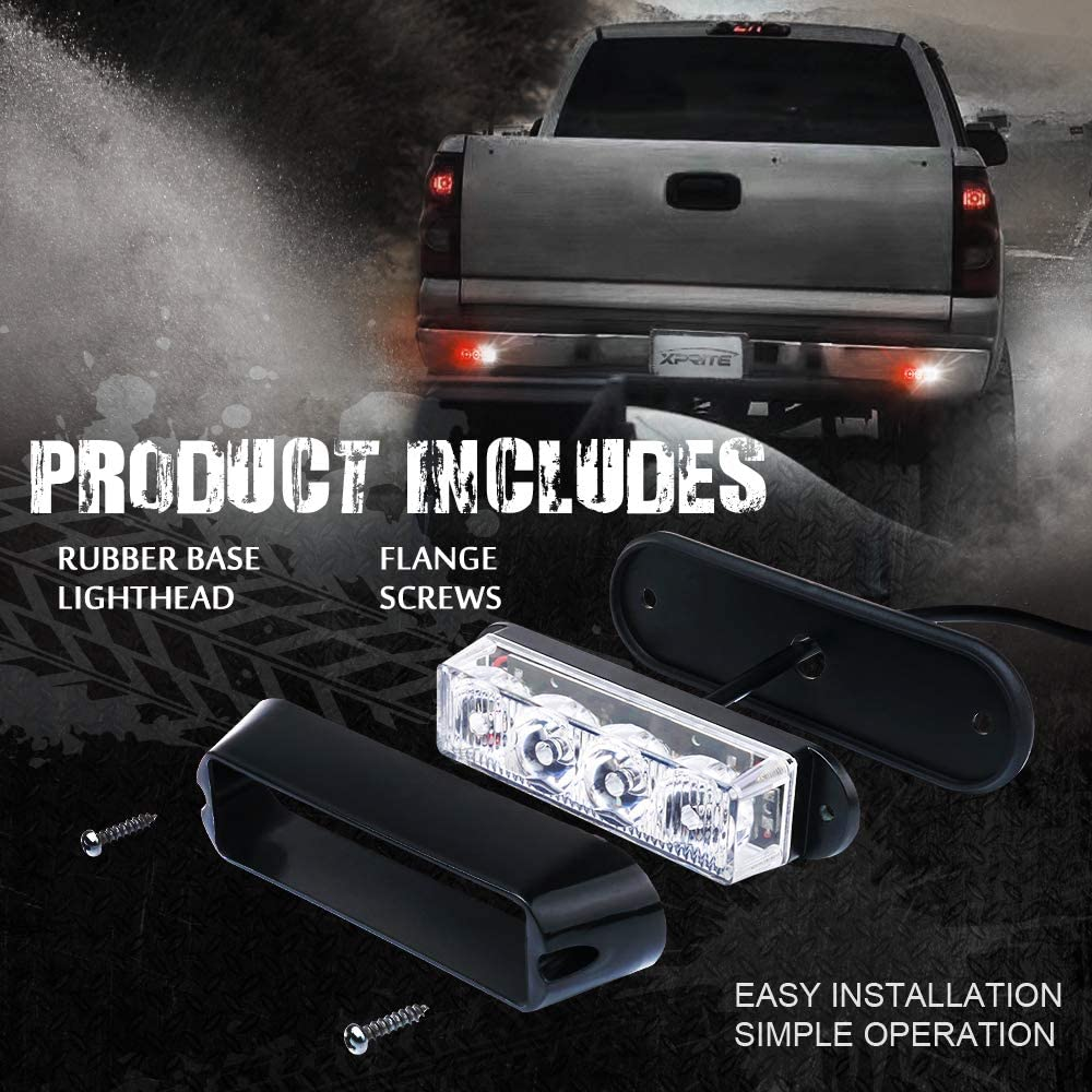 4 Pack Xprite White 4 LED 4 Watt Emergency Vehicle Waterproof Surface Mount Deck Dash Grille Strobe Light Warning Police Light Head with Clear Lens