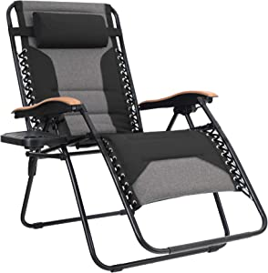 MFSTUDIO Oversized Zero Gravity Chair XL Patio Recliners Padded Folding Chair with Cup Holder, Extra Wide Chaise Lounge for Outdoor Yard Poolside, Black