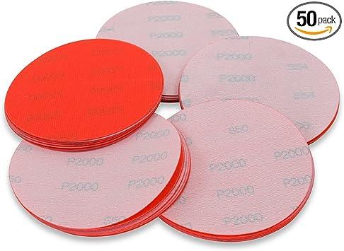 """Wet Sand Auto 6/"""" 50 Pack 400 Grit Waterproof Hook and Loop Film Sanding Discs"""