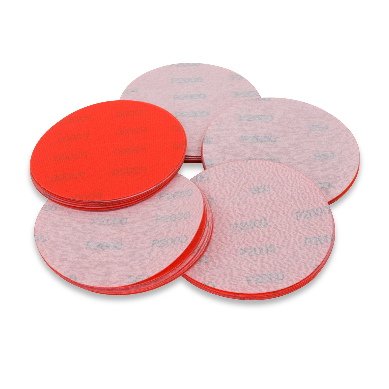 5 Inch 2000 Grit Hook and Loop Wet / Dry Auto Body Film Sanding Discs , 50 Pack