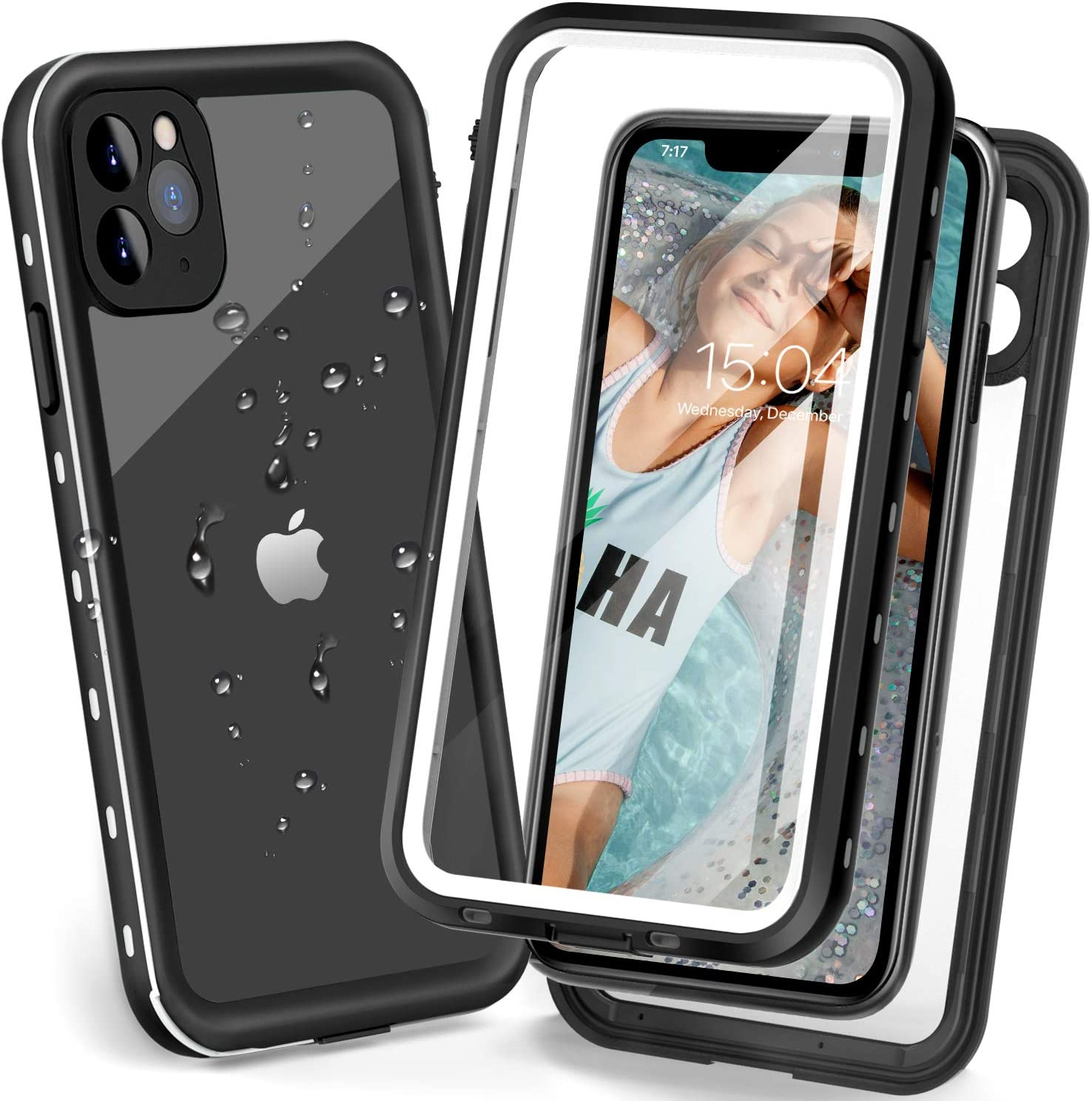 iPhone 11 Pro Max Waterproof case, Underwater Full Sealed Rugged Heavy Duty Protective Case Dustproof Snowproof Shockproof Waterproof Case for iPhone 11 Pro Max with Bulit-in Screen Protector (White)
