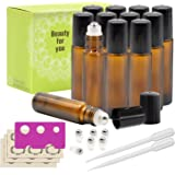 Glass Roll-on Bottles - 10ml, 12 Pack, Amber by Mavogel, Extra Stainless Steel Roller Balls, Essential Oil Opener, Droppers, and Labels Included