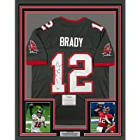 $3499 » Framed Autographed/Signed Tom Brady 33x42 Tampa Bay Buccaneers Pewter Grey Authentic Nike Limited Football Jersey Fanatics COA