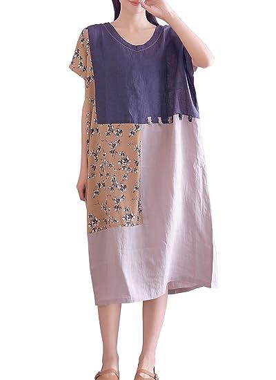 f79bec4d15 YUHEYUHE Women s Casual Loose Short Sleeve Summer Cotton Linen Midi Dresses  Blue