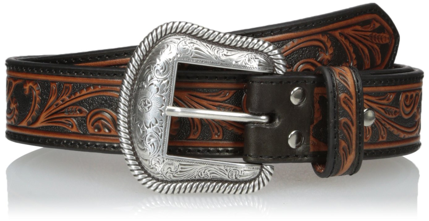 Nocona Men's Black Scroll Belt, Brown, 34