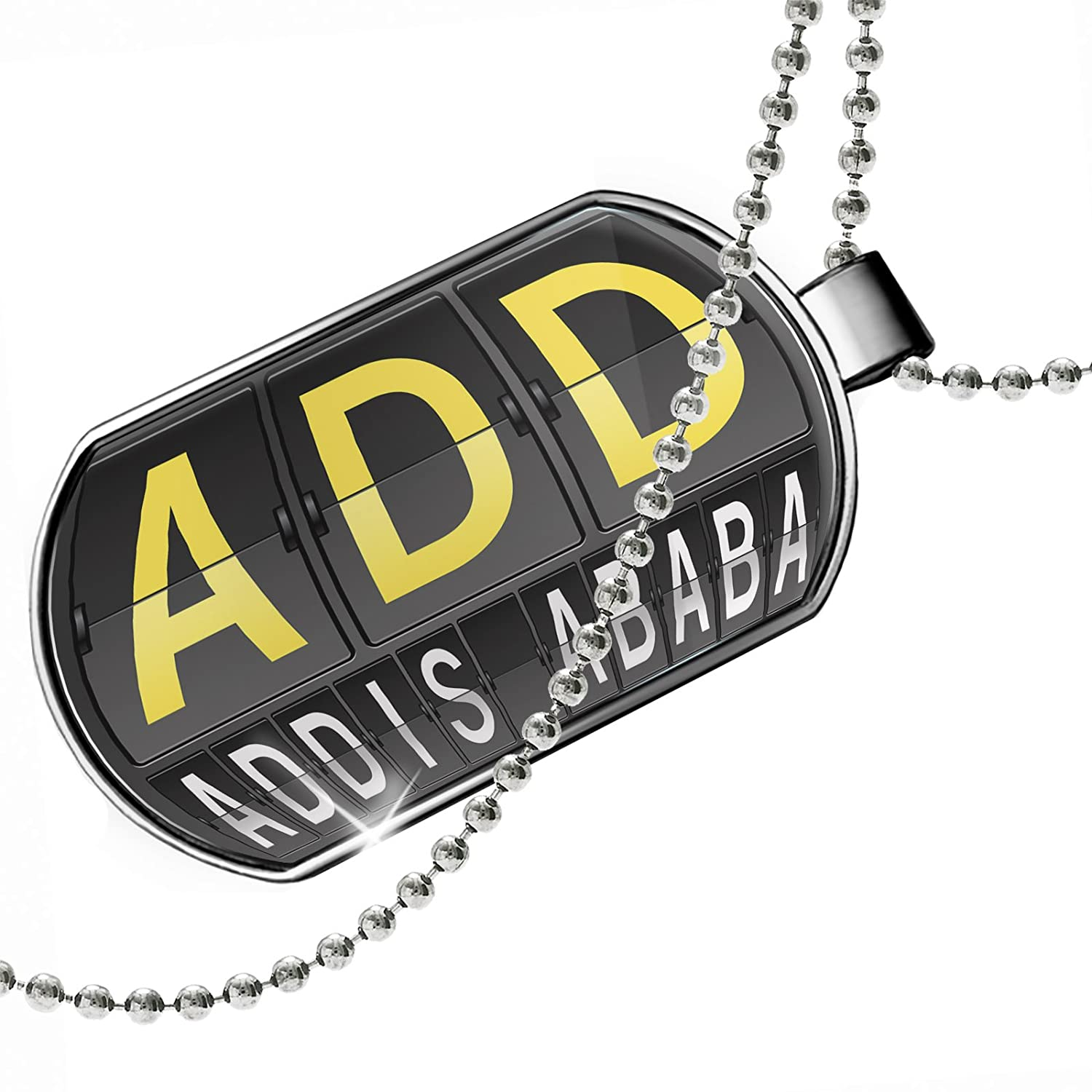 NEONBLOND Personalized Name Engraved ADD Airport Code for Addis Ababa Dogtag Necklace