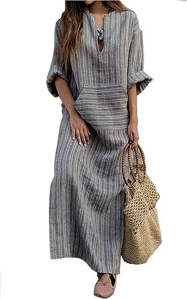 60baa63f4 VEVESMUNDO Vestidos de Mujer Verano Camisas Blusa Casual Maxi Largo Algodón  Lino 3 4 Manga Bolsillos Moda Ropa Tallas 34 36 38 40 42 44 46 48   Amazon.es  ...