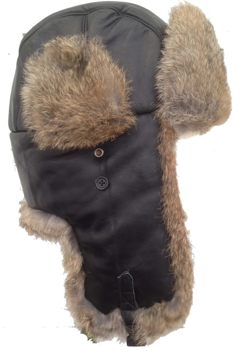 Brown Real Sheepskin Tan Rabbit Fur Trooper Bombardier Aviator Hat - XXXL by Scuttle Hole