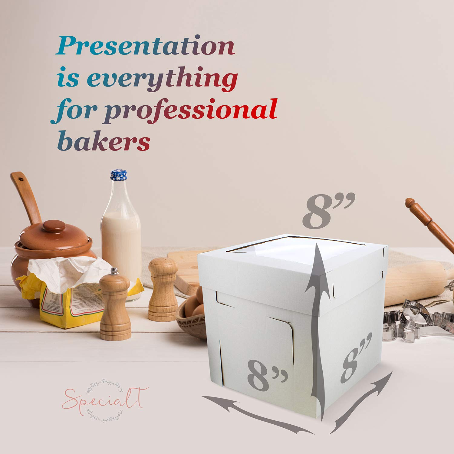 SpecialT Cake Boxes with Window 25pk 8'' x 8'' x 8'' Inch White Bakery Boxes, Disposable Cake Containers, Dessert Boxes by coolcha's (Image #4)