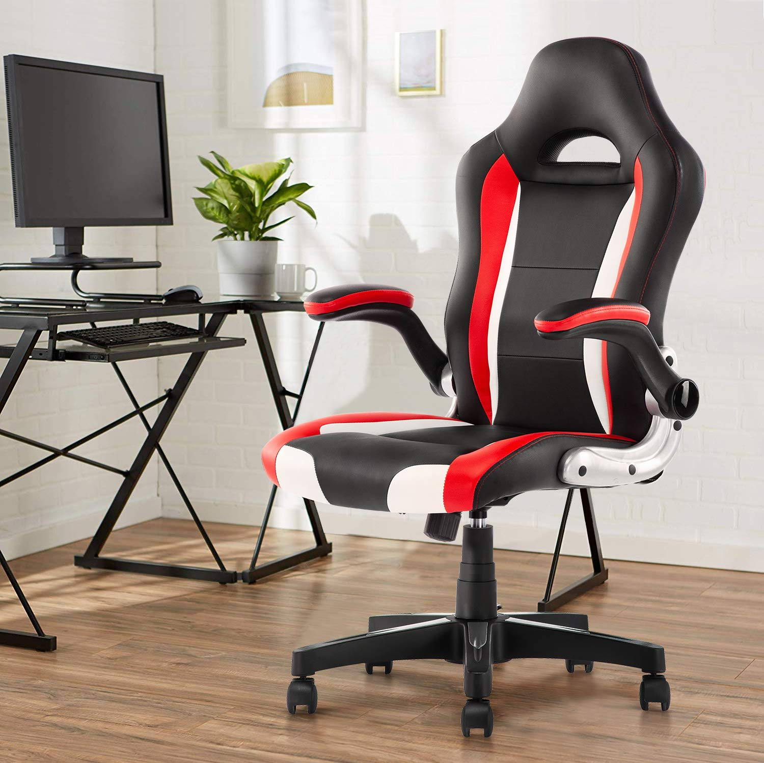 YAMASORO Leather Office Chair - Adjustable Tilt Angle and Seat Height High Back Executive Computer Desk Chair for Comfort Ergonomic Design for Lumbar Support by YAMASORO