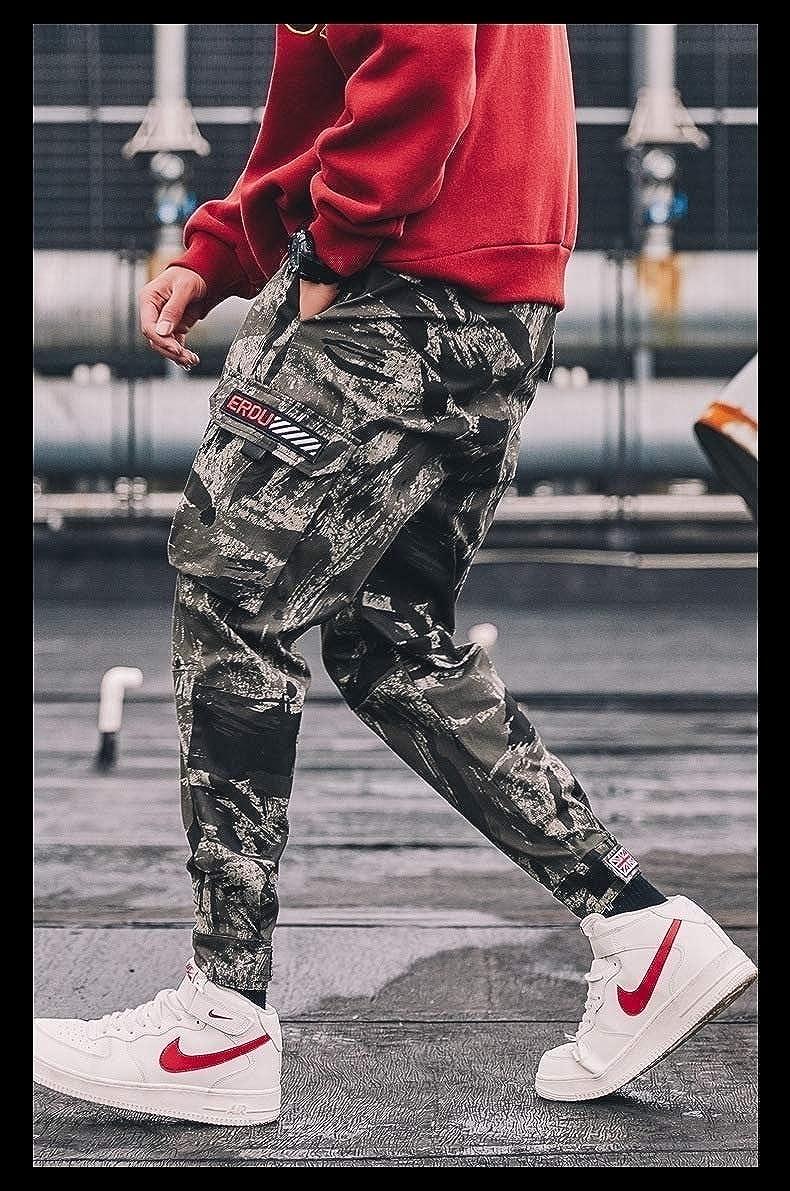DressU Mens Pocket Trim Plus Size Camouflage Drawstring Hip Hop Work Pant