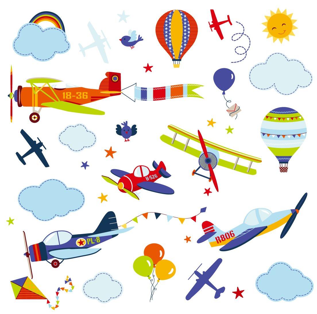 Airplanes Nursery Nursery/Boys Room Peel & Stick Wall Art Sticker Decals