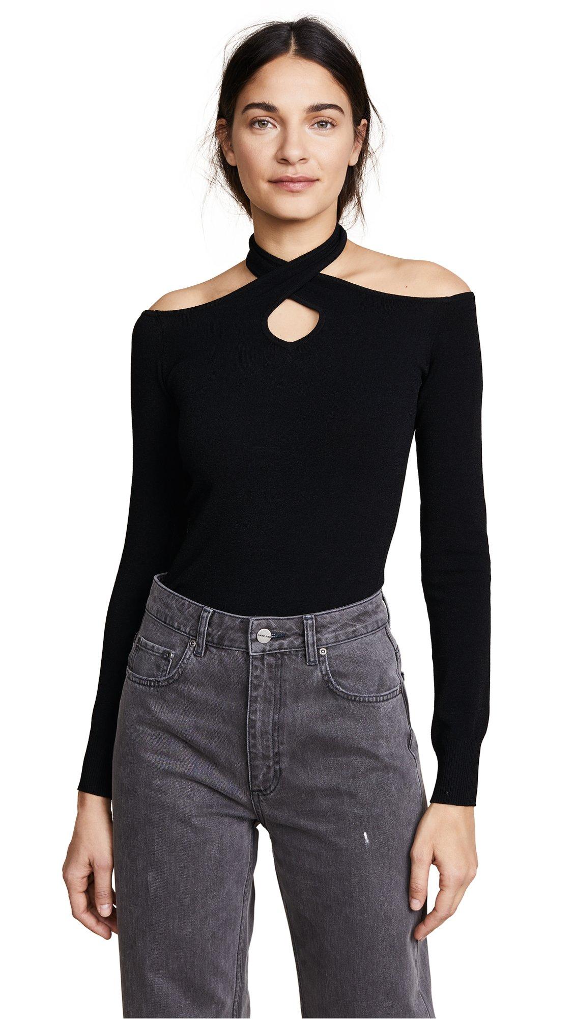 Autumn Cashmere Women's Cold Shoulder Halter Neck Sweater, Black, Medium