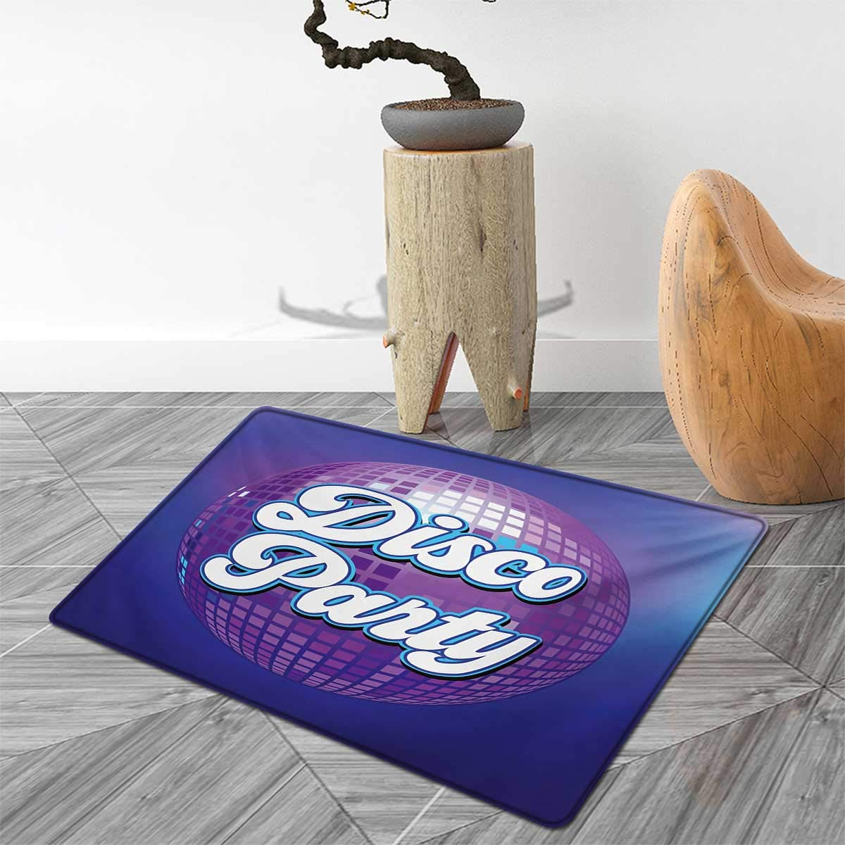 70s Party Door Mats for Home Retro Lettering on Disco Ball Night Club Theme Dance and Music Art Print Bath Mat Bathroom Mat with Non Slip 4'x5' Purple Blue White