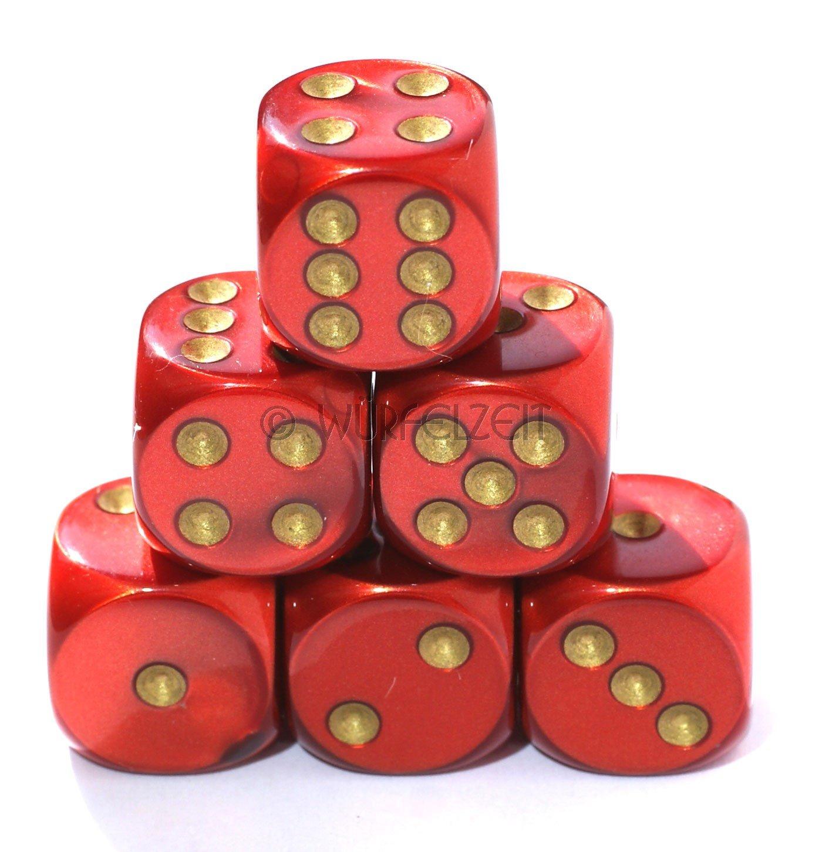 Würfelzeit 7459 - Würfel w6 16 mm, Silkki rot m/gold (12er Set in Klarsichtbox)