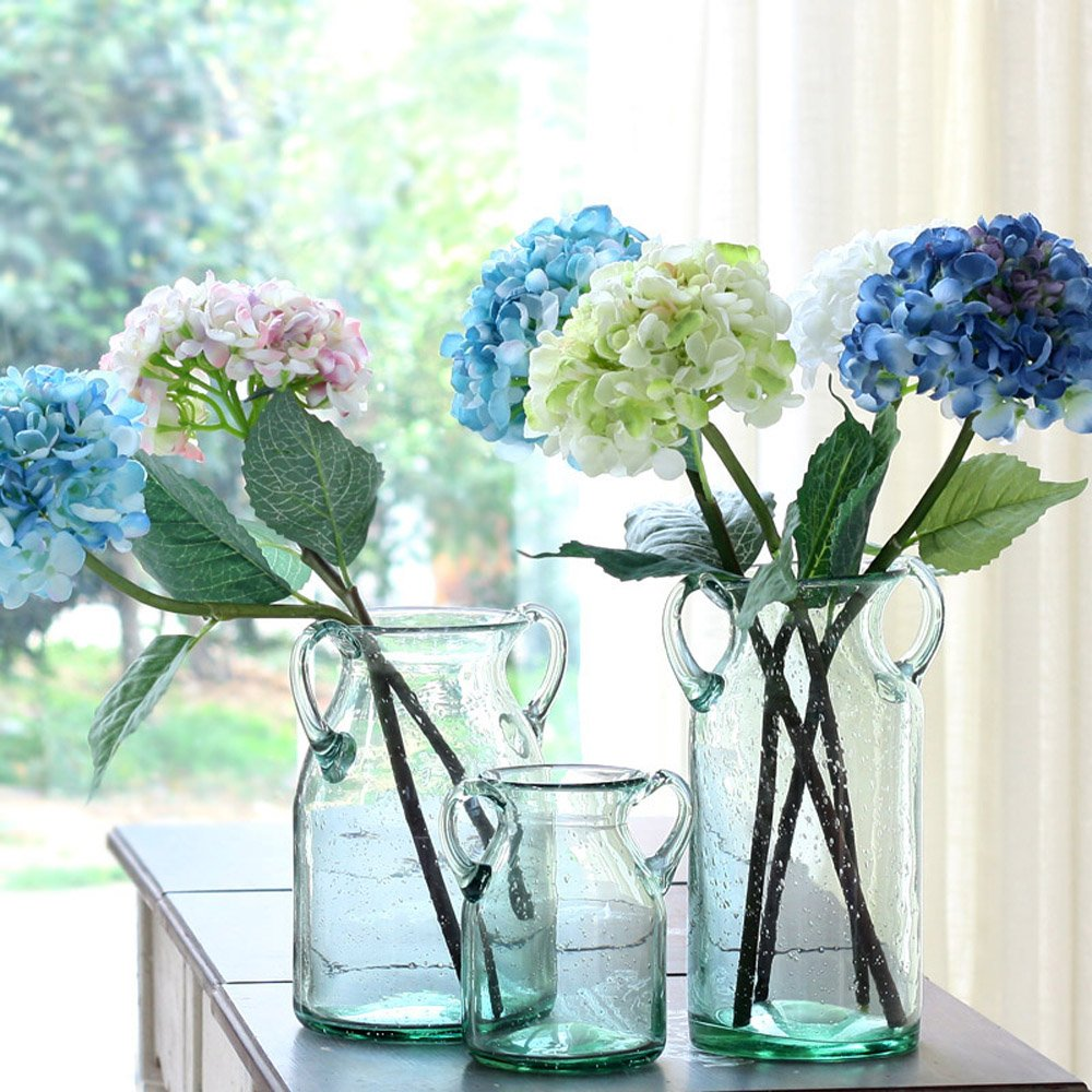 Noah Decoration Handmade and Hand-Blown Double Ear Stained Bubble Flower and Filler Glass Vase for Home and Wedding Indoor and Outdoor Decoration Size Small Ltd