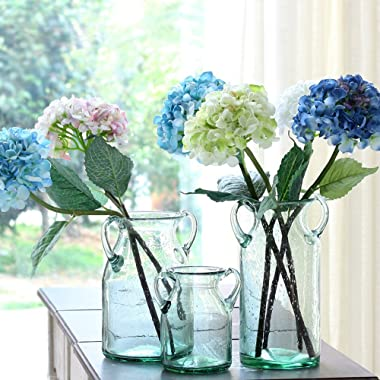 Noah Decoration Double Ear Hand-Blown and Handmade Transparent Flower and Filler Bubble Glass for Home and Wedding Indoor and Outdoor Decoration Size Medium