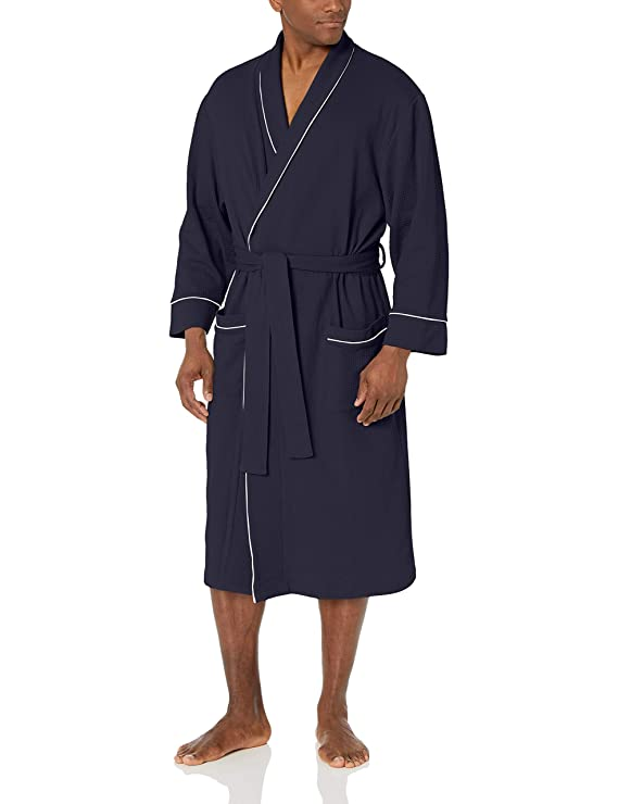 Amazon Essentials Men's Waffle Shawl Robe Sleepwear, -Navy, XL/XXL best men's bath robe