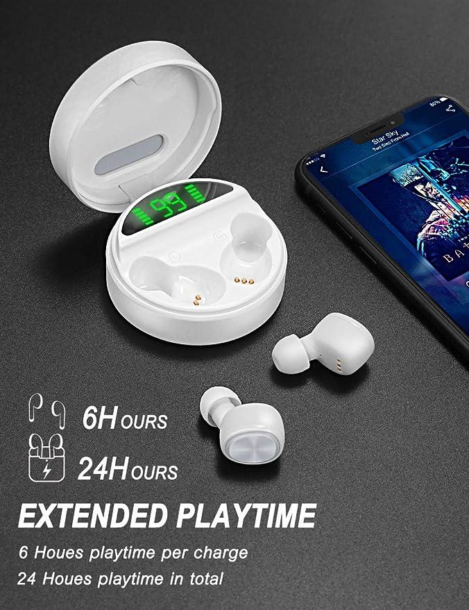 yobola Bluetooth Kopfh/örer Touch Control Kopfh/örer Kabellos 5.0 24H Playtime 3D Stereo HD Bluetooth Kopfh/örer In mit Mikrofon Wireless Kopfh/örer mit kabellosem Ladekoffer