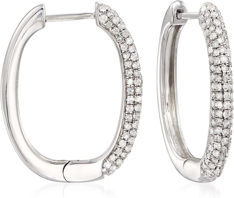 Sterling Silver and Diamond Hoop Earrings