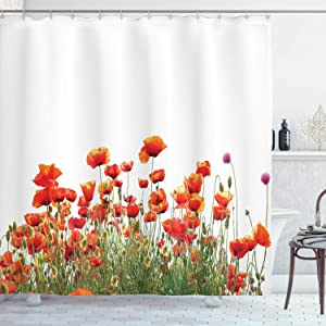 Ambesonne Flower Shower Curtain, Poppies Spring Field Countryside Botanical Nature Meadow Landscape Print, Cloth Fabric Bathroom Decor Set with Hooks, 70