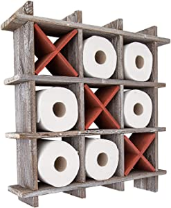 Comfify Rustic Tic-Tac-Toe Toilet Paper Holder for Bathroom – Playful Storage Shelves for Toilet Tissue in Distressed White Color – Freestanding or Wall Mount Bath Shelves for Your Farmhouse Décor