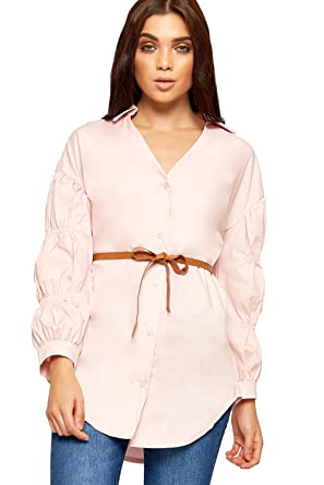 ad16bf62cf WearAll Womens Open Collar Button Blouse Shirt Ladies Long Sleeve Belted  Plain New 8-14  Amazon.co.uk  Clothing