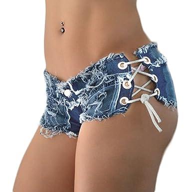 Elonglin Damen Mini Shorts Zerrissene Löcher Hot Strand sehr Kurze Hose  Nachtclubwear Low Waist Schnüren Jeans a83c26d573