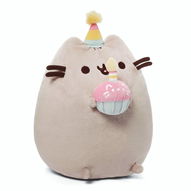 GUND Pusheen Snackables Birthday Cupcake Plush Stuffed Animal, Gray, 10.5''
