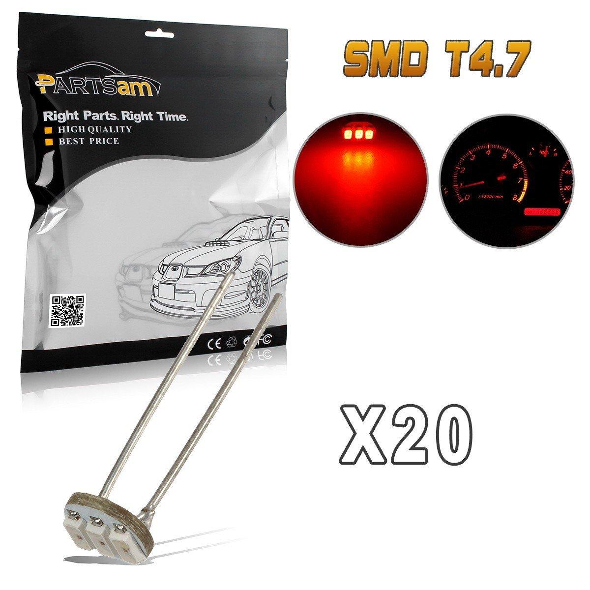 Partsam 20Pcs 4.7mm-12v Car Red Mini Bulbs Lamps Indicator Cluster Speedometer Backlight Lighting For GM GMC