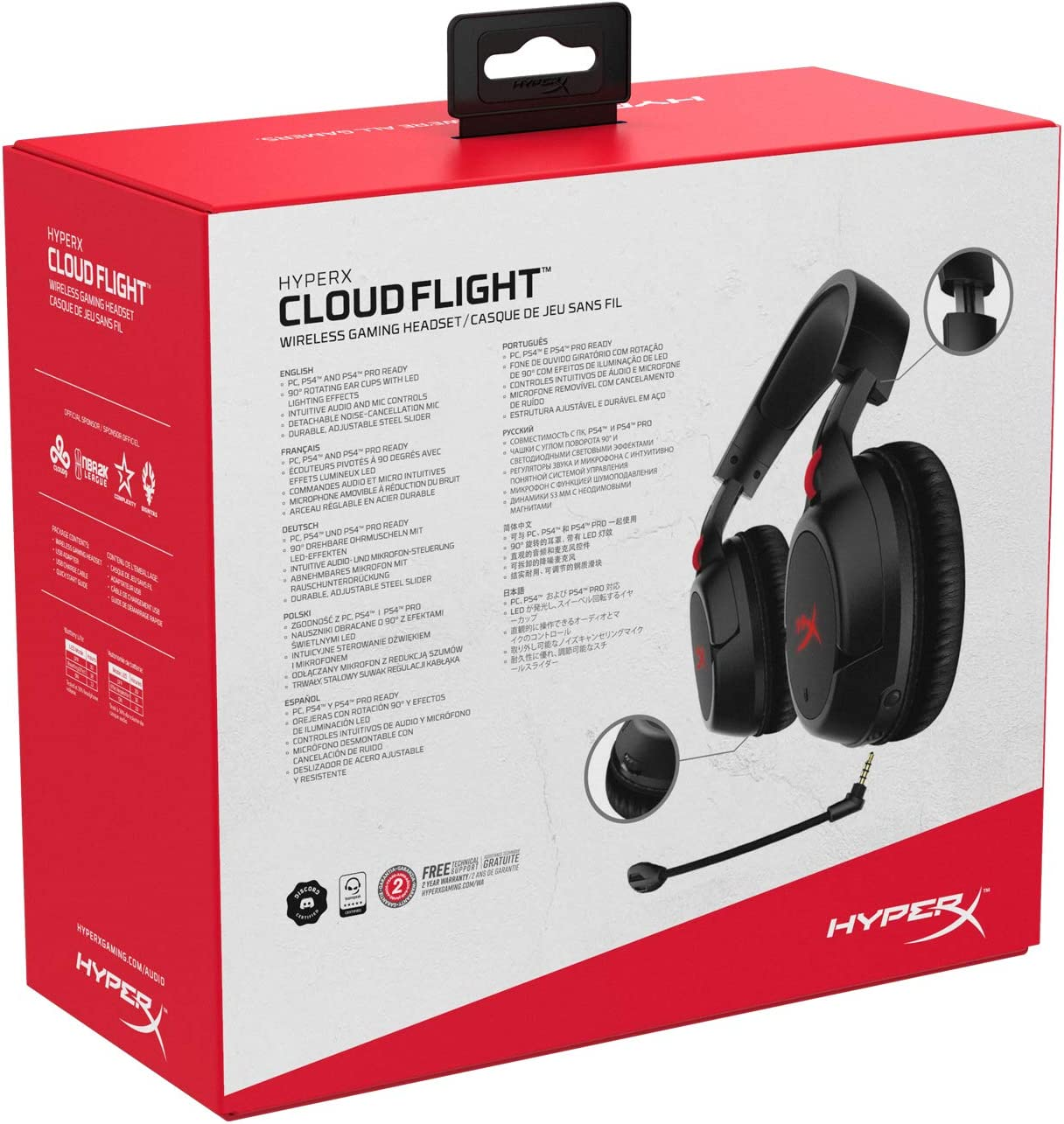 HyperX Cloud Flight Draadloze gaming headset, met lange