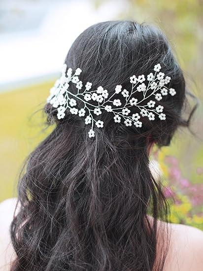handmadejewelrylady tocado novia boda brillantes diadema pelo Vine Partido  Noche Mujeres Accesorios Para El Pelo 1e0647b8b1c0