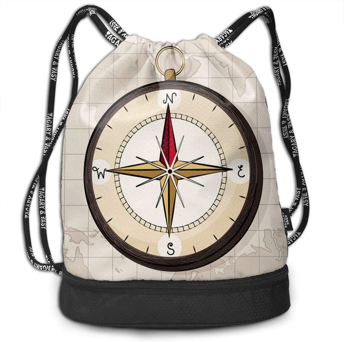 HUOPR5Q Hand Drawn Map Compass Drawstring Backpack Sport Gym Sack Shoulder Bulk Bag Dance Bag for School Travel