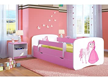 new concept 7c10c c5d7f Pink Toddler Girl Bed Kids Bed Junior Children's Single Bed with Mattress  and Storage Included - Baby Dreams (Medium (160x80), 5. Princess & Horse)
