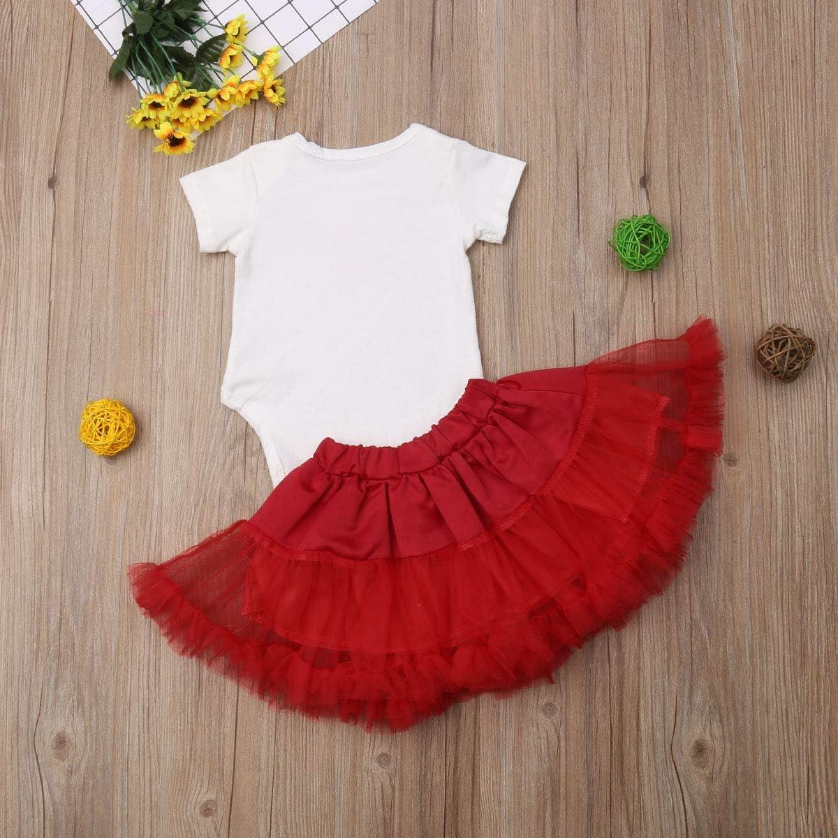 Newborn Baby Girls Christmas Outfits Short Sleeve Romper Tutu Skirt Dress up Clothes Set