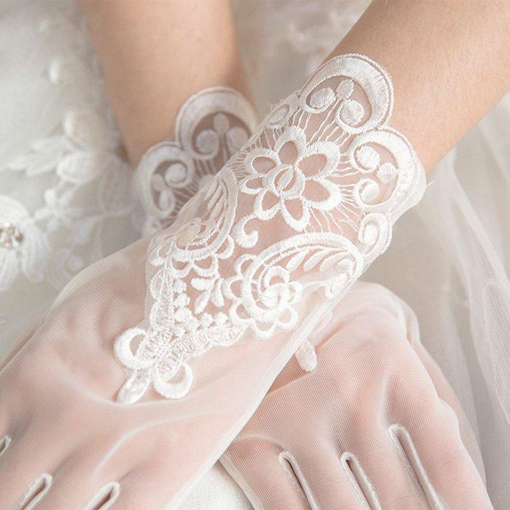 KHSKX-Spitzen Blume Kleiner Wei/ßer Gaze Handschuhe Handschuhe Hochzeit Hochzeits Accessoires