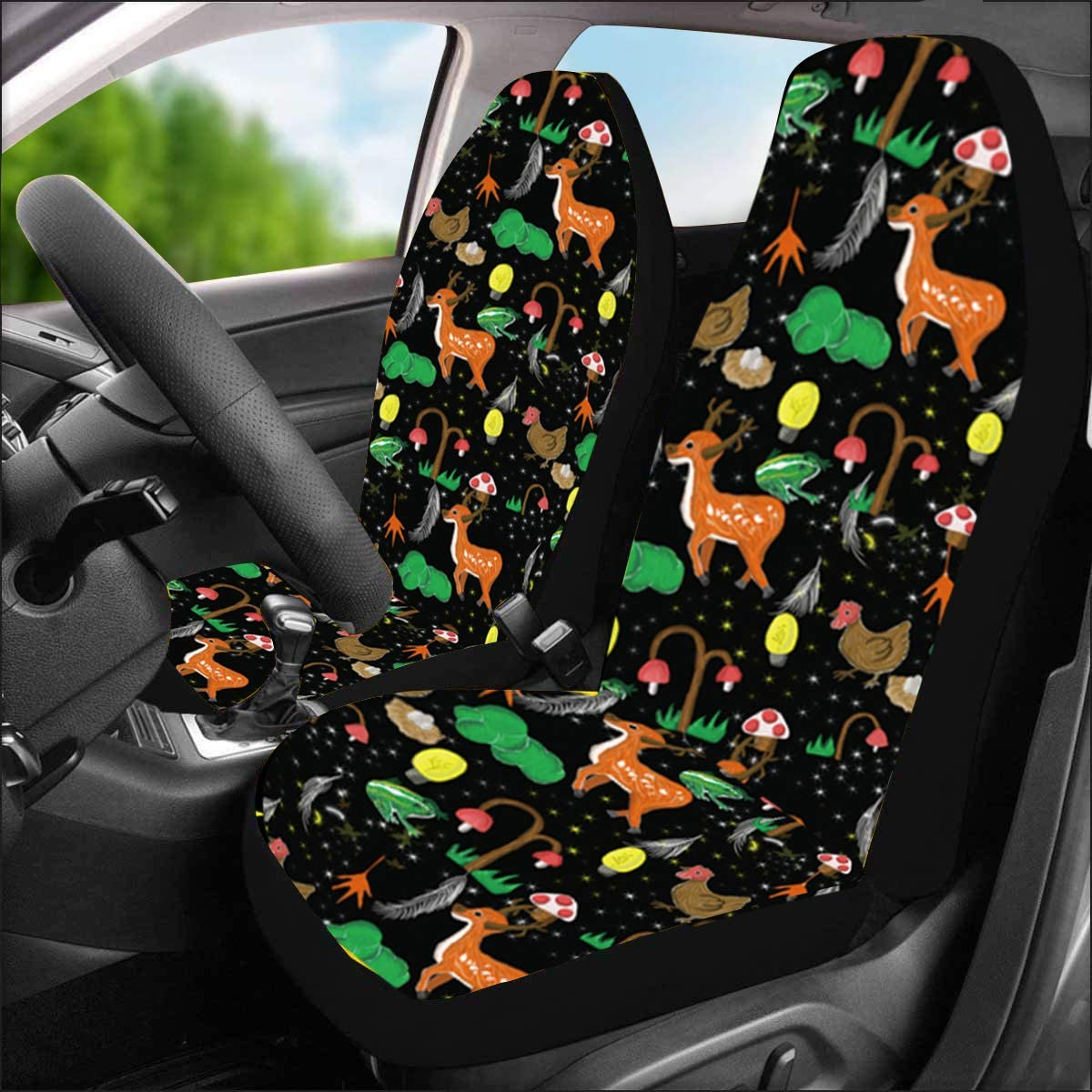 Venhoo Car Seat Covers Lovely Sunflower Universal Auto Front Seats Protector Compatible Fits for Most Car SUV Sedan /& Truck-2 Pcs
