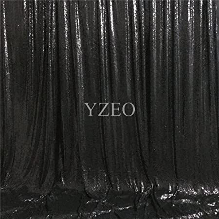 YZEO Black Sequin Backdrop Youtube Background Makeup Curtain 6ftx9ft