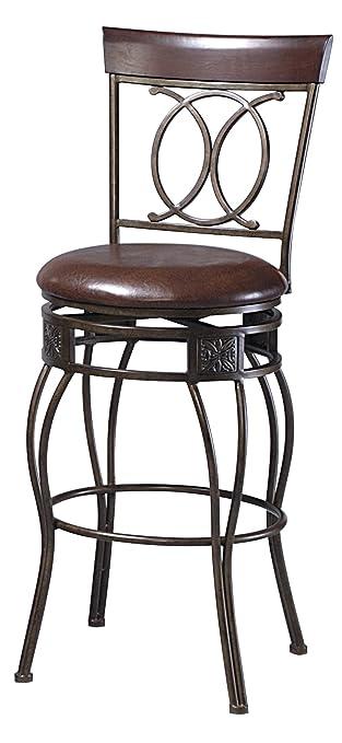 Matte Bronze Linon O u0026 X Back 30u0026quot; Seat Height Bar Stool with Swivel Seat  sc 1 st  Amazon.com & Amazon.com: Matte Bronze Linon O u0026 X Back 30