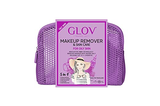 GLOV Travel Set - Violeta - Eliminar el Maquillaje con Paños de Limpieza Facial - Productos de Limpieza Desmaquillantes Reutilizable - Eliminar el ...