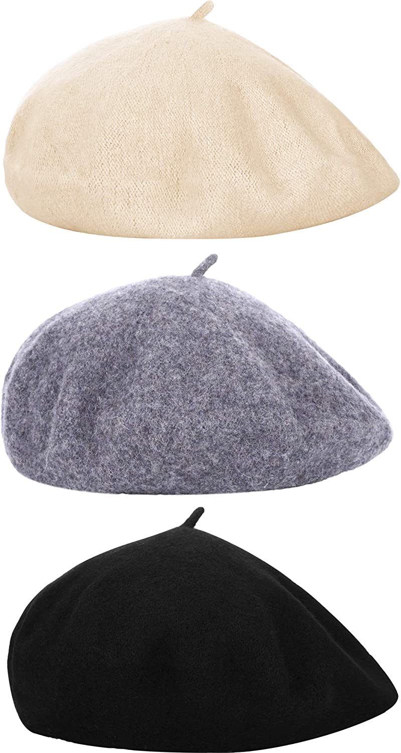 3 Pieces Beret Hats French...