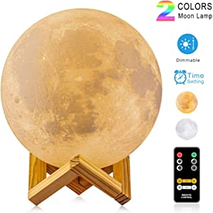 2 Colors Moon Lamp - LOGROTATE Moon Light, Dimmable, Rechargeable Night Light, Timing, Full Set with Wooden Stand, Remote/Touch Control - Magical Decor for Baby, Kid Bedroom, Birthday Gifts(7.1 inch)