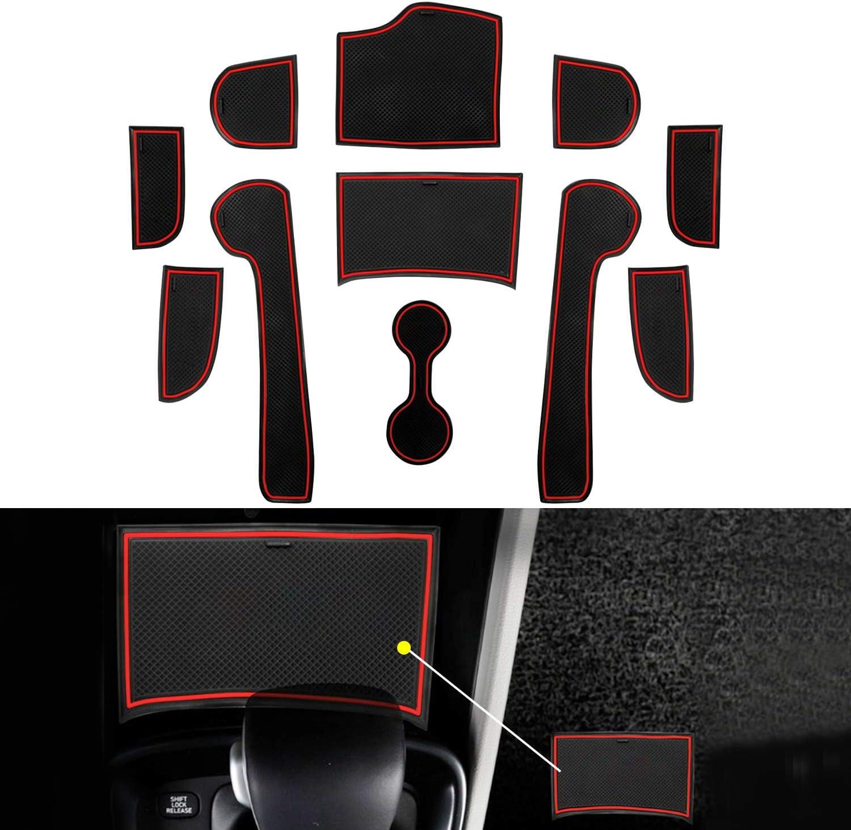Red YEE PIN Sentra Door Gate Slot Mats Door Mats Fit for 2020 Sentra Center Console Liner Accessories Non-Slip Anti-dust Rubber Mats 14 Pcs//Set