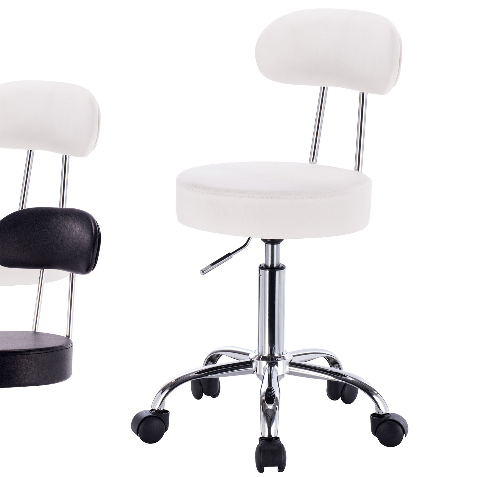 WOLTU ABSX1008whi-a 1x Rolling Swivel Hydraulic Chair with Back Synthenic Leather Round Seat Stools for Home Office Lab Medical Spa Massage Salon Adjustable Seat Height:18.5'' to 23.2'',White